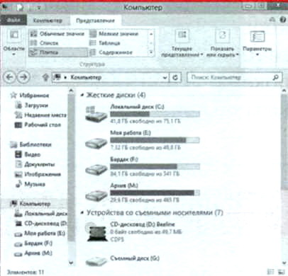 Окна классического интерфейса Windows 8