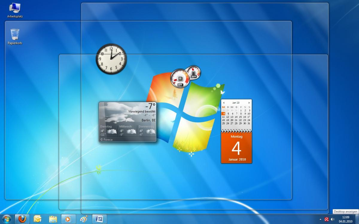 Aero Peek Windows 7